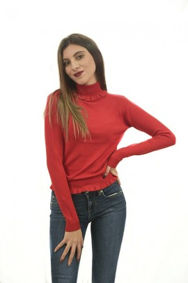 FRACOMINA High neck sweater and ruffles