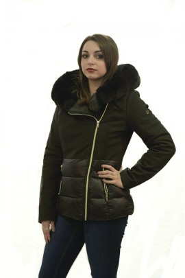 FRACOMINA Short down jacket with hood and fur