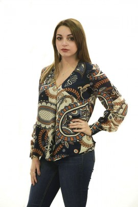 FRACOMINA Wide v-neck floral blouse