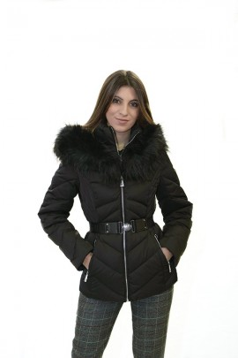 GUESS Short down jacket with fur collar
