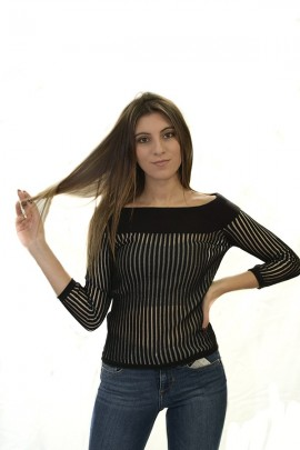 GUESS Semi-transparent sweater and boat neckline - BLACK