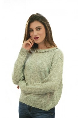 KAOS Sweater with round neck in stones and rhinestones