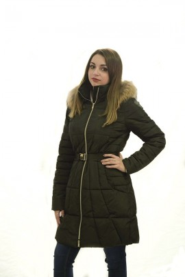 KOCCA Long down jacket with hood and fur