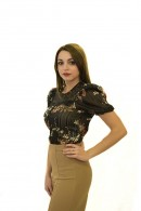 RINASCIMENTO Floral blouse in lace and plisset