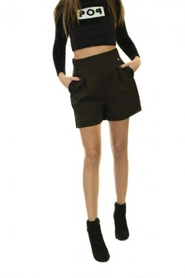 RENAISSANCE Chino shorts with pockets buttons - BLACK