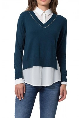 KOCCA Sweater with shirt - VERDE SCURO