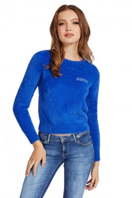 GUESS Sweater with fur and rhinestone logo - BLUE