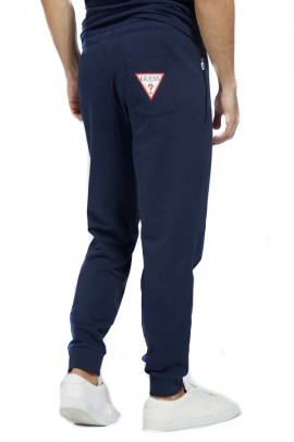 GUESS Fleece trousers with cuffs - BLUE