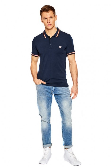 GUESS Polo shirt with contrasting logo and piping
