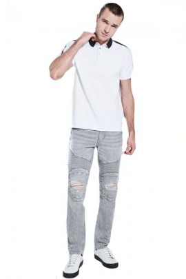 Polo GUESS avec col contrastant - BIANCO