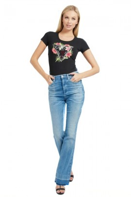 GUESS T-shirt with flowers and rhinestones logo - BLACK