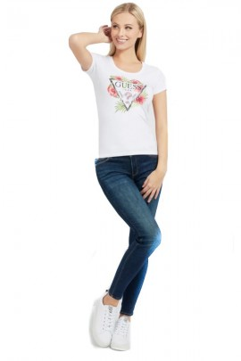 GUESS T-shirt with flowers and rhinestones logo - WHITE