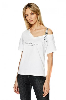 GUESS One-shoulder t-shirt and shoulder strap with logo - WHITE