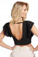 GUESS Perforated top with ruffles