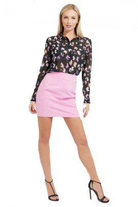 GUESS Georgette patterned shirt - BLACK
