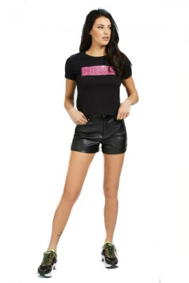 GUESS T-shirt with rubberized logo - BLACK