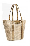 GUESS Bag covered in wicker and gold inserts