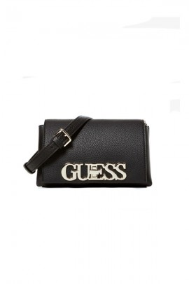 GUESS Small bag in textured leather and gold logo