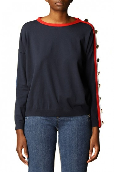 LIU JO Sweater with striped band and buttons