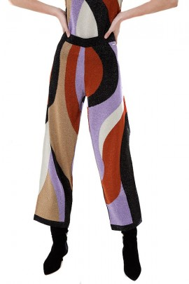 LIU JO Laminated palazzo trousers - MULTICOLOR