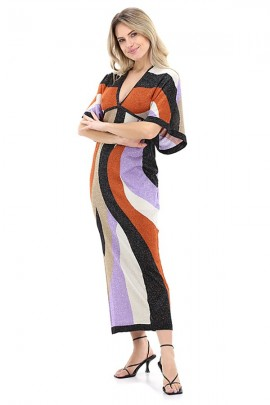 LIU JO Multicolored laminated dress with kimono sleeves