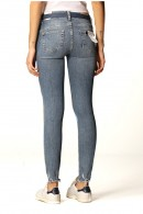 LIU JO Jeans with ripped ankle and clutch bag