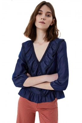 LIU JO Denim effect blouse with long sleeves and ruffles
