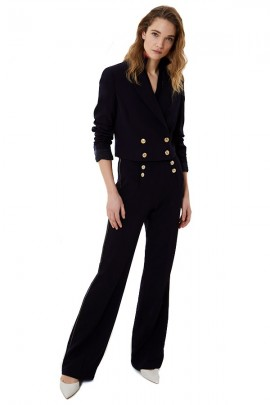 LIU JO High-waisted trousers with lurex trim