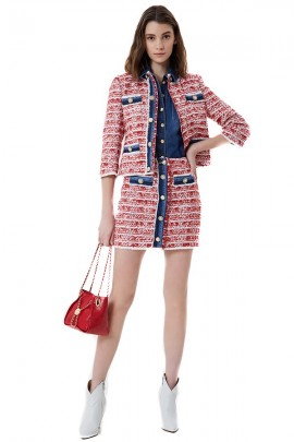 LIU JO Patterned jacket with jeans inserts and jewel button
