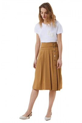 LIU JO Long skirt with flounces and jewel button