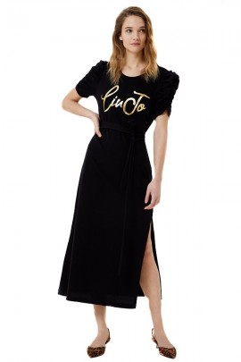 LIU JO Jersey dress with gold logo - BLACK