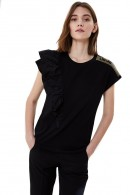 LIU JO T-shirt with one-shoulder ruffles and rhinestones