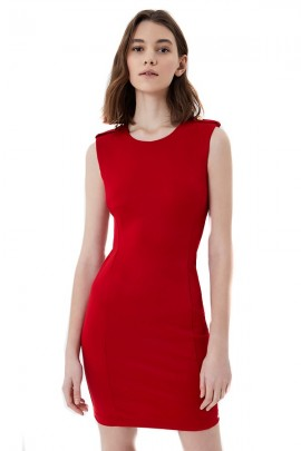 LIU JO Sleeveless dress with shoulder pads - ROSSO