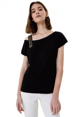 LIU JO T-shirt with rhinestone shoulder strap and logo