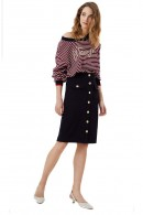 LIU JO Long skirt in cotton and gold buttons