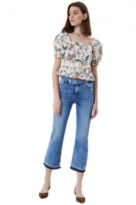 LIU JO Short flared jeans and braid detail