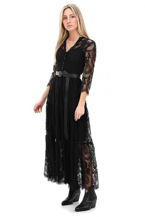 KOCCA Long dress in openwork lace and belt