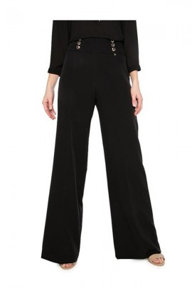 KOCCA Palazzo trousers and high waist with gold side buttons - BLACK