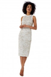 LIU JO Long dress in knit and gold embroidery