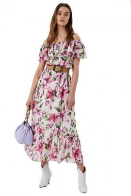 LIU JO Long floral dress - VIOLET
