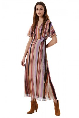 LIU JO Long striped dress and ruffle sleeves - MULTICOLOR