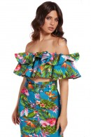 GUESS Floral top with ruffles