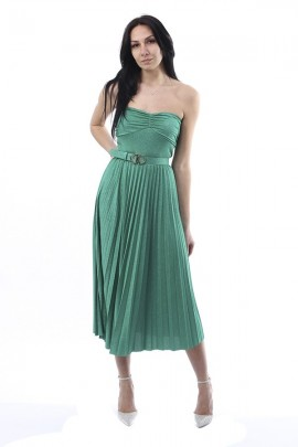 KAOS Short laminated pleated dress and belt