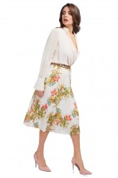 MARCIANO Pleated floral skirt