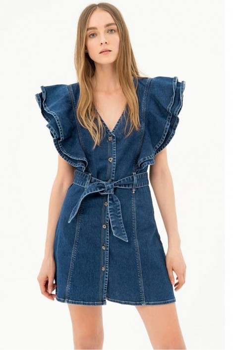 FRACOMINA Denim dress and ruffles