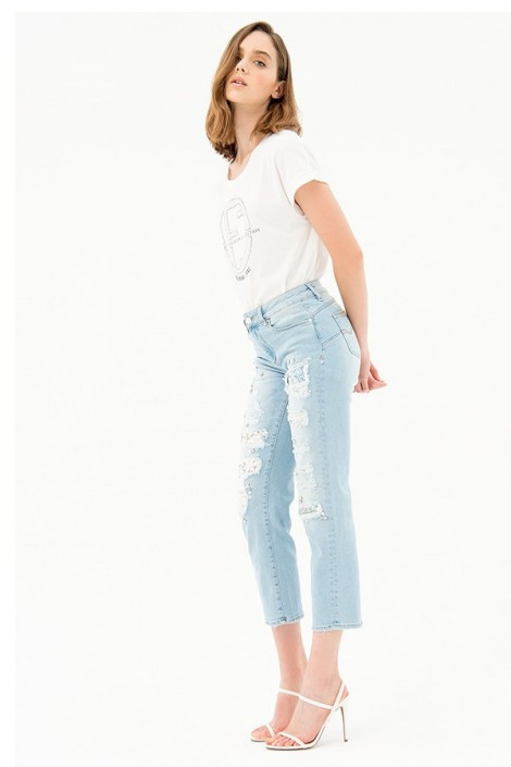 FRACOMINA Jeans with breaks and pearls