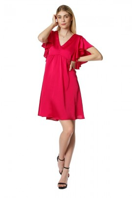 FRACOMINA Short dress in satin and ruffled sleeves