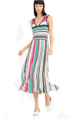 FRACOMINA Long laminated striped dress