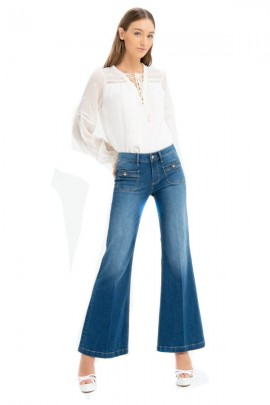 FRACOMINA Flared jeans and jewel buttons