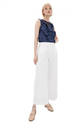 LIU JO Sleeveless denim effect blouse with ruffles